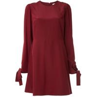 Ck Calvin Klein Vestido Reto Mangas Longas De Seda - Vermelho