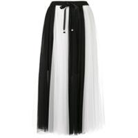 Edward Achour Paris Vestido Bicolor De Tule - Branco