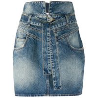 The Attico Minissaia Jeans Com Amarração Na Cintura E Lavagem Estonada - Azul