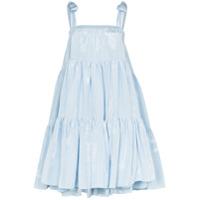 Batsheva Vestido Amy Moire Com Amarração - Azul