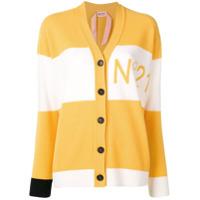 Nº21 Cardigã De Lã Bicolor Com Logo - Amarelo