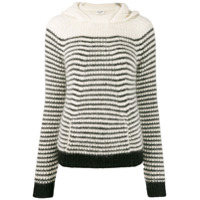 Saint Laurent Suéter Listrado Com Capuz - Branco