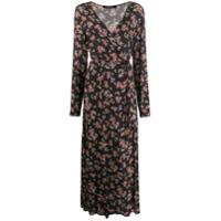 Andamane Vestido Envelope Com Estampa Floral - Preto