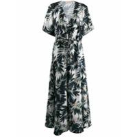 Black Coral Vestido Longo Com Estampa Tropical - Branco