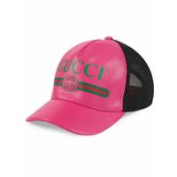 Gucci Boné De Couro Com Logo - Rosa