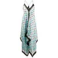Altea Vestido De Seda Assimétrico Com Estampa - Azul