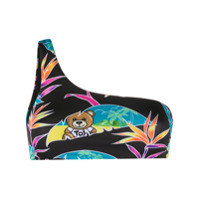 Moschino Teddy Bear One-Shoulder Bikini Top - Preto