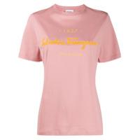 Salvatore Ferragamo Embossed-Logo T-Shirt - Rosa