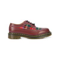 Comme Des Garçons Comme Des Garçons Sapato de couro com cadarço e recorte xadrez - Vermelho