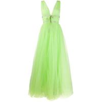 Brognano Vestido Longo Com Tule - Verde