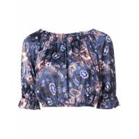 Jill Stuart Blusa Cropped Floral - Azul