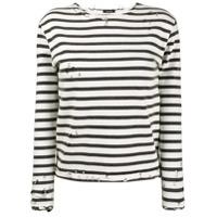 R13 Camiseta Listrada Mangas Longas - Branco