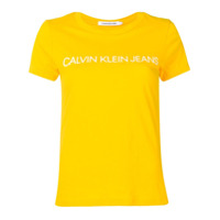 Calvin Klein Jeans Camiseta Com Logo Contrastante - Amarelo