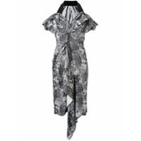 Maticevski Vestido Decote Em V Com Estampa Gráfica - Preto