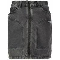Off-White Saia Jeans Com Zíper Frontal - Cinza