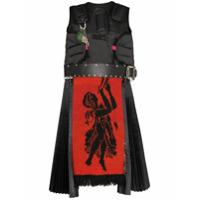 Chopova Lowena Vestido Guard Com Detalhe De Couro - Preto