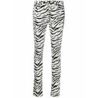 Saint Laurent Calça Jeans Skinny Com Animal Print - Branco