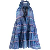 Anjuna Vestido Estampado Com Detalhe De Tassel - Azul