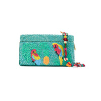 Serpui Clutch Ráfia Bordada - Azul