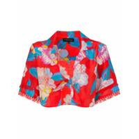 A Peace Treaty Talla Floral Print Tie Shirt - Vermelho