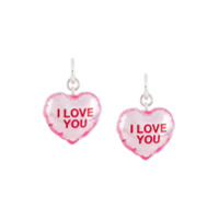 Marc Jacobs Par De Brincos I Love You Com Estampa - Rosa