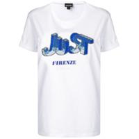 Just Cavalli Camiseta Com Bordado De Contas - Branco