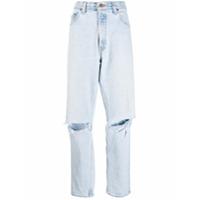 Danielle Guizio Calça Jeans Reta Rasgada - Azul