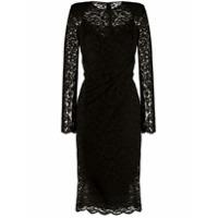 Dolce & Gabbana Vestido Midi Franzido Com Renda - Preto