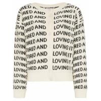 Ashley Williams Slogan-Knitted Merino Wool Cardigan - Branco