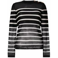 Balmain Suéter Com Padronagem Listrada - Preto