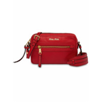 Miu Miu Logo Zip Shoulder Bag - Vermelho