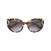 38cdf6bc7a320 Salvatore Ferragamo Eyewear Óculos De Sol Hastes Com Detalhe Efeito  Tartaruga - Marrom ...