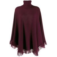 Incentive! Cashmere Knitted Poncho - Vermelho