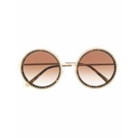 Dolce & Gabbana Eyewear Óculos De Sol Arredondado - Marrom