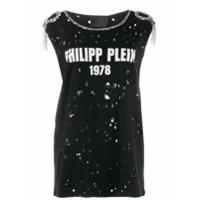 Philipp Plein Camiseta Com Aplicações - Preto