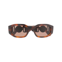 Versace Eyewear Óculos De Sol 'hexad Signature' - Marrom
