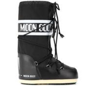 Moon Boot Bota Com Logo E Cordão - Preto