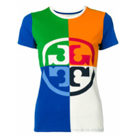 Tory Burch Camiseta Color Block Com Logo - Azul