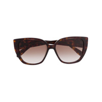 Alexander Mcqueen Eyewear Armação De Óculos Gatinho Com Efeito De Tartaruga Com Logo Dourado - Marrom