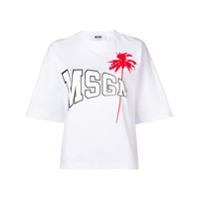 Msgm Camiseta Com Estampa De Logo E Palmeira - Branco