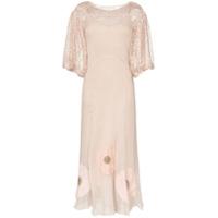 One Vintage Vestido Longo Com Aplicação Floral - Rosa