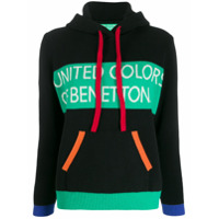 Benetton Suéter Color Block Com Capuz - Preto