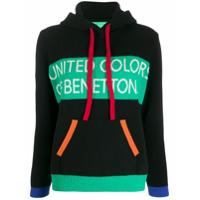 Benetton Suéter Color Block Com Capuz - Preto