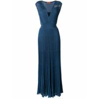 Missoni Vestido Longo De Tricô Plissado - Azul