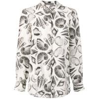 Alexander Mcqueen Camisa Estampada De Seda - Branco