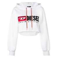 Diesel Blusa De Moletom Cropped Com Logo - Branco