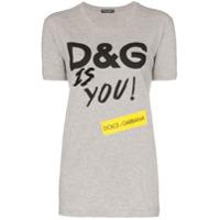Dolce & Gabbana Camiseta De Algodão Com Estampa D&g Is You - Cinza