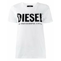 Diesel Camiseta Com Logo Em Pvc - Branco
