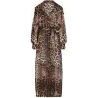 Dolce & Gabbana Trench Coat De Organza Com Estampa De Leopardo - Marrom