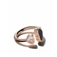 Chopard Anel 'happy Hearts' De Ouro Rosê 18Ki Com Ônix E Diamante - Rose Gold